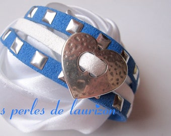 Bracelet duo of metal between blue and white