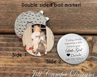 """FATHER of the BRIDE - double sided golf ball marker - """"Today a bride"""" - father of the bride gift - father of the bride golf - from bride"""