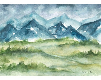 Little Mountain Landscape - Watercolor Print