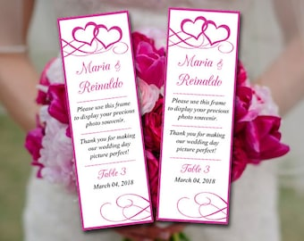 """Photo Booth Insert Place Card Template Printable """"Entwined Hearts"""" Fuchsia Wedding Photobooth Template Escort Card - DIY Wedding Template"""
