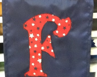 Your choice Monogrammed Initial Handmade Garden Flag:  Initials F, O, S, W, or Z;  Various Patterns - Anchors, Flowers, Frogs