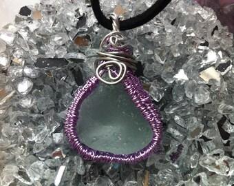 Wire wrapped sea glass pendant