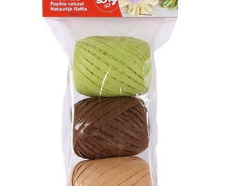 Set of 3 natural raffia assorted APLI - Nature - Ref 14413 - until the stock!