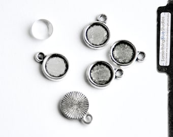 Round Bezel setting (parallel loop)  w/ optional glass dome, 8mm, antiqued silver, qty 10 - for charm bracelets, earrings, stamping  (2-13a)