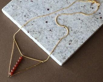 Warm Carnelian Triangle Drop Brass Necklace