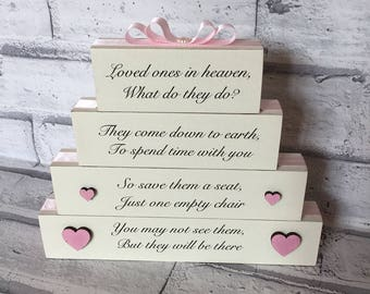 Memory Stack Lost Loved Ones in Heaven Blocks Stack Plaque Gift