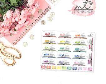 Read || 15+ Planner Stickers || Erin Condren Life Planner, Happy Planner || SKU 014