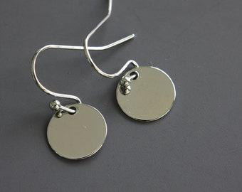 Rhodium Dot Earrings - Simple Earrings - Disc Jewelry - Trendy Earrings - Dangle Earrings - Everyday Earrings - Silver Dot - Disc Earrings