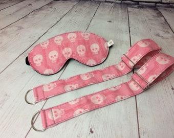 Pink w Skull Fabric Adjustable Wrist Ankle Restraints w Blindfold Eye Mask Adult Play