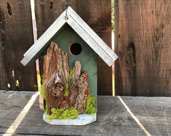 Rustic Birdhouse, Farmhouse Country Style, Functional Bird House, Handmade, Hand Painted Moss Green with White Accents, Item #564154868