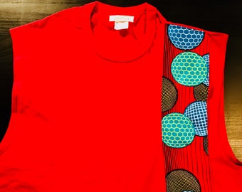 African accented sleeveless t-shirt - red