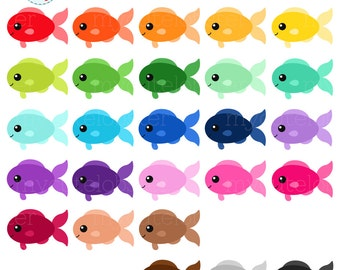 Rainbow Fish Clipart Set - clip art set of fish, cute fish, happy fish, rainbow - personal use, small commercial use, instant download
