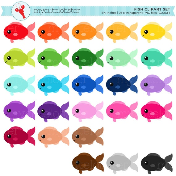 rainbow fish clipart set clip art set of fish cute fish rh etsy com cute clownfish clipart funny fish clipart