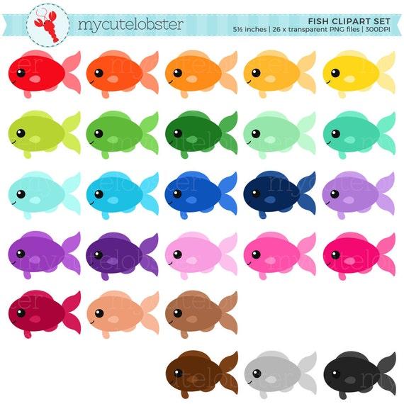 rainbow fish clipart set clip art set of fish cute fish rh etsy com cute clownfish clipart cute fish clipart
