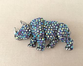 Rhinoceros Brooch.Rhino Brooch.Rhinoceros Crystal Brooch.Rhinoceros Pin.Rhinestone.Africa.African safari.Travel.Vacation.Lavender.AB.Asian
