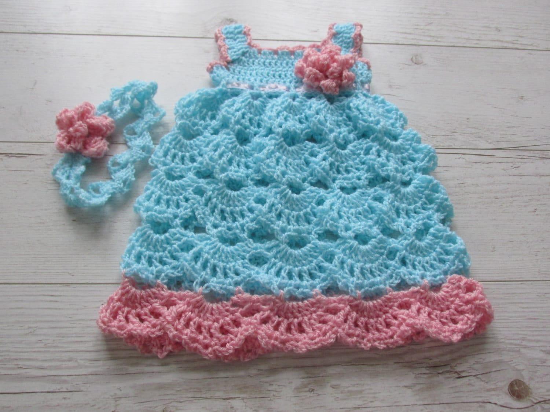 AQUA infant dress and headband crochet baby girl dressblue