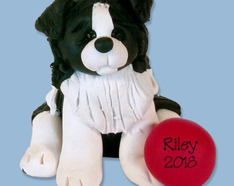Border Collie Personalized Dog Christmas Ornament HANDMADE Polymer Clay - Limited Edition