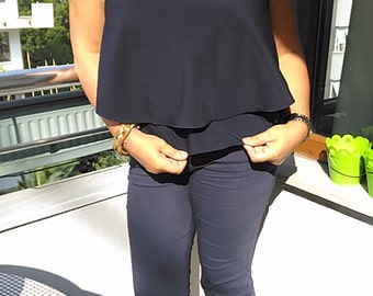 Navy Blue crop-top  -   Double Layer shirt- V-Neck Front sleeveless top - Plus size Crop Shirts   Fashion wear  gift for her