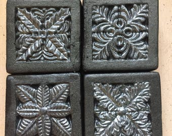 Guest soap set of 4 - with honey and activated charcoal - fresh rain scent - net wt 7 oz