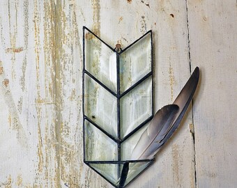 Rustic Decor. Air Planter. Air Plant Holder. Stained Glass Arrow. Wall Planter. Jewelry Storage. Hanging Planter. Arrow wall hanging