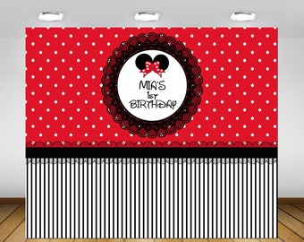 Minnie Mouse Party Backdrop,Polka Dot Minnie Backdrop, Birthday Party, 1st Birthday, Baby Shower, Backdrop, Poster, Sign, Banner, Black, Red