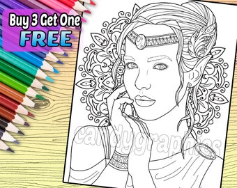 Elf Woman - Adult Coloring Book Page - Printable Instant Download