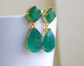 Angelina Jolie Inspired Emerald Green Onyx Stone Gold Dangle stud Earrings