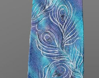 Silk necktie. Hand painted necktie. Turquoise necktie. 59 in. (150 cm) Accessories for men. Ready to ship.