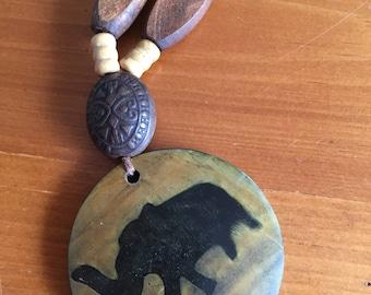 Elephant Wood Necklace 16 inch