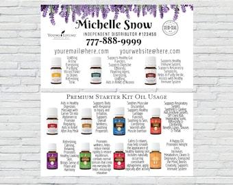 Oil Usage Business Card | Essential Oils Business Card, Essential Oil Calling Card, Premium Starter Kit Oil Usage, Lavender Business Card