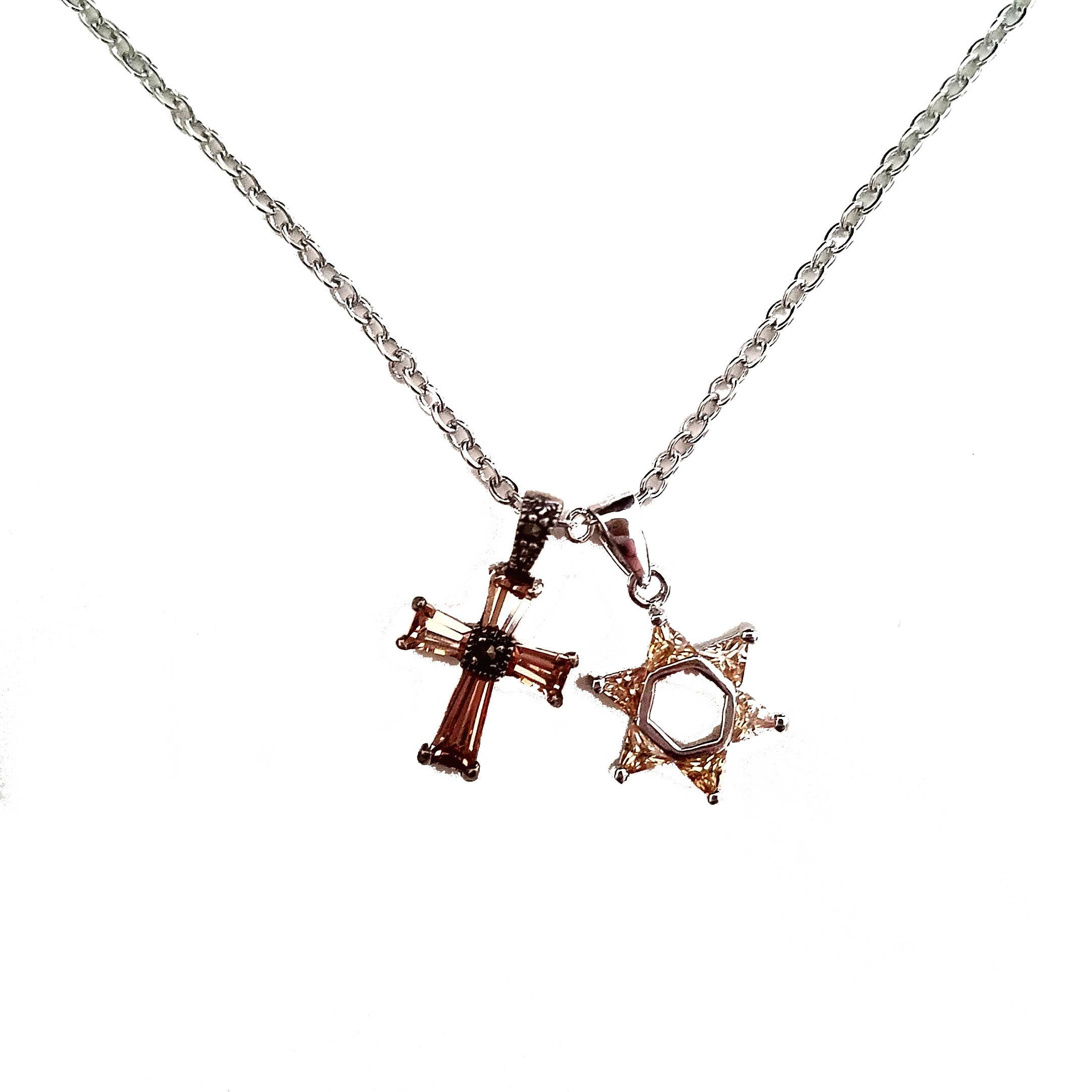Interfaith star of david cross crystal necklace zoom biocorpaavc Images