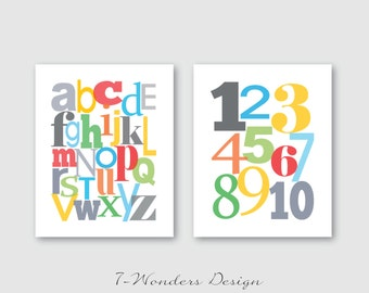 Modern Children's Kids Alphabet and Numbers Wall Art Print Set (2)  8 x 10 OR 11 x 14 // Nursery // Bedrooom // Playroom