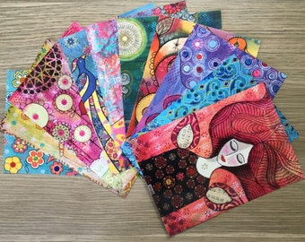 POSTCARDS SET of 10 ~ mini prints of original mixed media artworks by Amanda Stelcova