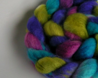 Fiber Roving Top BFL Silk BELIZE Top Hand Painted Wool Spin Felt Craft Roving 4 ounces