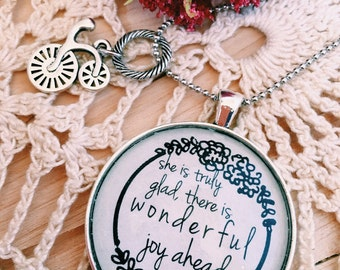 """1 Peter 1:6 Scripture Necklace - Words on Necklace """"She is truly glad there is wonderful joy ahead."""" Vintage Brass or Antique Silver Pendant"""