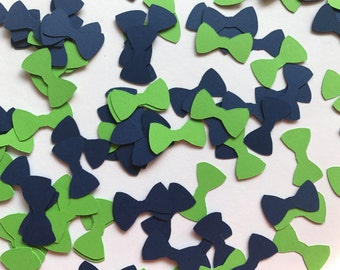 Green and Navy Bow Tie Confetti - Little Man Birthday Party Decorations - Little Man Baby Shower Decorations - Green and Navy Baby Shower