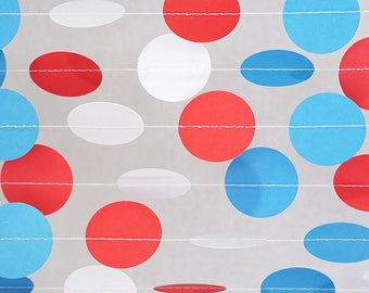 Patriotic red, white , and blue Circle Dot Garland/ balloon tails