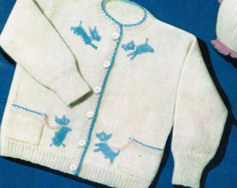 Baby Scottie Dog Sweater knitting pattern PDF / 1 and 2 year old cardigan / Vintage dog baby cardigan / Scotty sweater