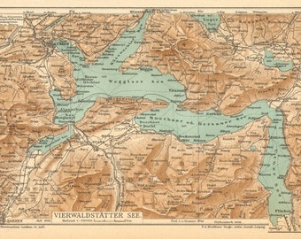 1905 Antique Dated Map of Lake Lucerne in Switzerland
