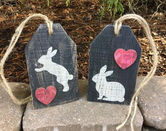 Wooden, Easter, Tags, Bunny, Heart, Wood, Door Tags, Rustic, Heart, Rabbit, Large, Wreath, Spring, Valentines Day, Gift Tag, Distressed