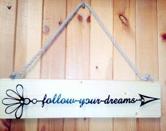 Wall decor metal,Motivational sign,Follow your dreams,wall hanging,arrow decor