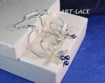 Lotus hoop earrings dangle Silver flower in circle Snow earring Bridal Flower Pearl earrings Snow white earrings Gift under 50 Swarovski