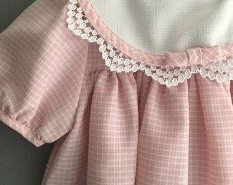 Pink and white gingham dress and jacket set