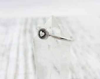 LaoOne * Sterling Silver Ring * Heart Stacking Ring