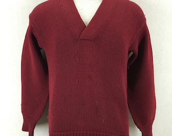 Vintage Varsity 1950s Roper Knitting Co. Wool Shaker-Sweater Size 40 USA