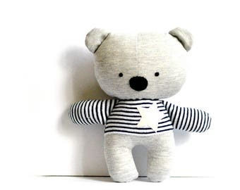 "Teddy bear softie stuffed animal stuffed bear rag doll bear soft toy plushie softie handmade toy grey white star 25 cm 9.8"""