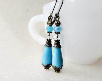 Blue Teardrop Earrings, Victorian Earrings, Beaded Earrings, Czech Glass Beads, Sky Blue Earrings, Downton Abbey Jewelry, Antique Bronze