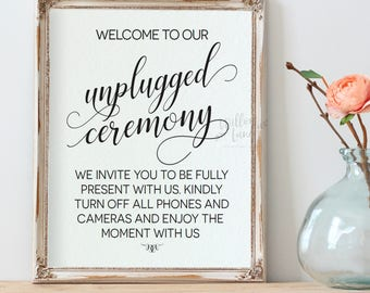 Unplugged Ceremony Sign, Unplugged Wedding Sign, Wedding Table Sign,  8x10, No Cell Phones Sign, Printable Instant Download PDF