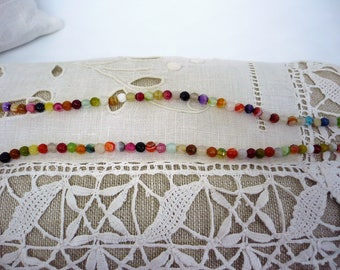 Multicolor agate beads necklace