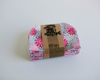 Baby Wipes Cloth Wipes Diaper Bag Wipes Family Cloth Wipes  Sustainable Napkins- Set of 20 -  Double Layer  (Gray Grey Floral)